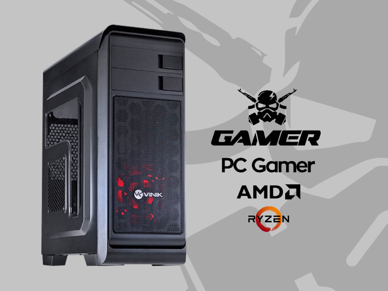 PC GAMER - AMD AM4 RYZEN 5-2400G 3.9GHZ / A320M / 8GB DDR4 / SSD 240GB / RX 550 4GB DDR5 128B / 500W / Gab MID-TOWER Hunter